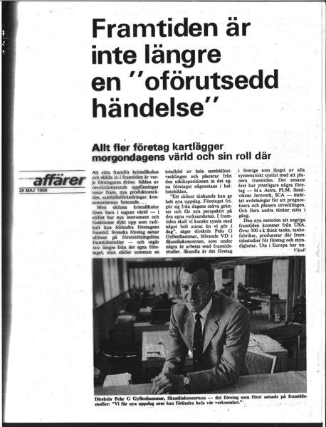 artikel om framtidsstudier i Veckans affärer 1969
